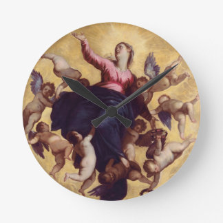 Madonna Carried by Angels (ceiling fresco) Wall Clocks