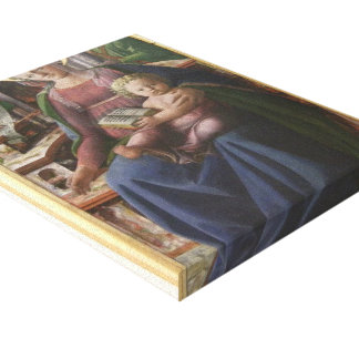 Madonna, Child Enthroned, Angels by Filippo Lippi Stretched Canvas Print