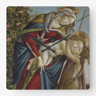 Madonna, Child, St John the Baptist by Botticelli Wall Clock