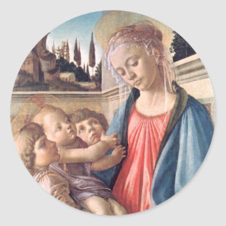 Madonna & Child Two Angels Botticelli Fine Art Classic Round Sticker