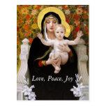 Madonna + child, white lillies christmas postcards