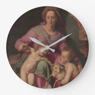 Madonna & Child with Saint John the Baptist Large Clock
