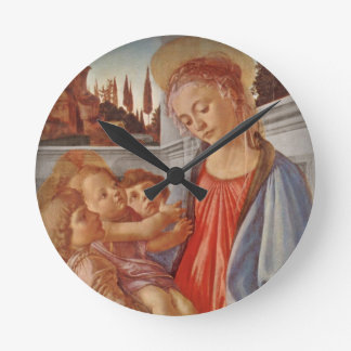 Madonna Christ Child and Two Angels Round Wallclocks