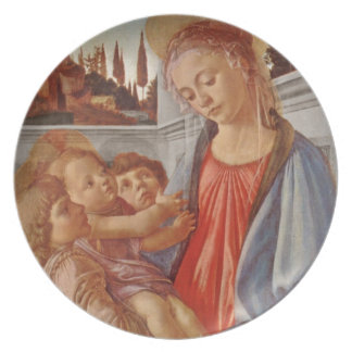 Madonna Christ Child and Two Angels Dinner Plate