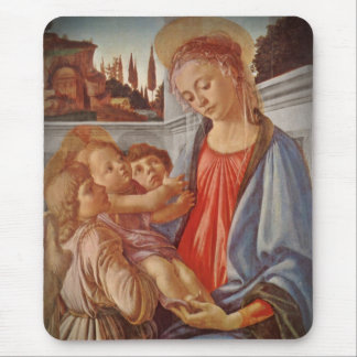 Madonna Christ Child and Two Angels Mouse Pad