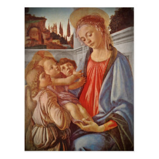 Madonna Christ Child and Two Angels Postcard