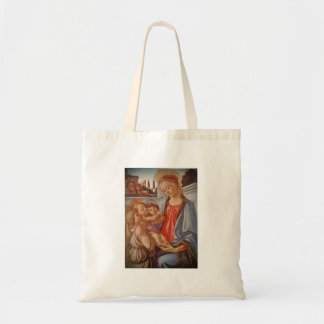Madonna Christ Child and Two Angels Tote Bag