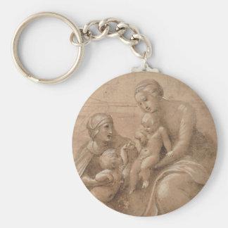 Madonna col bambino san giovannino e Sant Elisabet Keychain