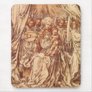 Madonna con ángeles debajo de un toldo alfombrilla de ratón