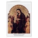 Madonna con dos ángeles de Gentile da Fabriano Tarjeta De Felicitación
