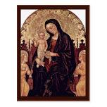 Madonna con dos ángeles de Gentile da Fabriano Postal