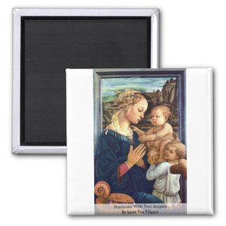 Madonna con dos ángeles por Lippi Fra Filippo Imán Para Frigorífico