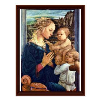 Madonna con dos ángeles por Lippi Fra Filippo Tarjetas Postales