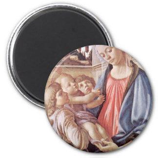 Madonna con dos ángeles por Sandro Botticelli Imán Para Frigorifico