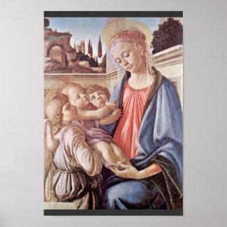 Madonna con dos ángeles, por Sandro Botticelli Poster