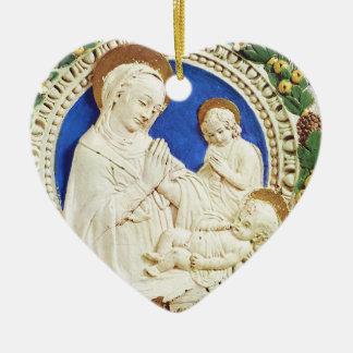MADONNA CON el corazón azul redondo del zafiro del Adorno De Cerámica En Forma De Corazón