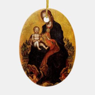 Madonna con el niño de Fabriano gentil Adorno Ovalado De Cerámica