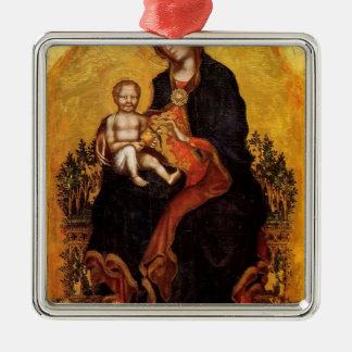 Madonna con el niño de Fabriano gentil Adorno Cuadrado Plateado