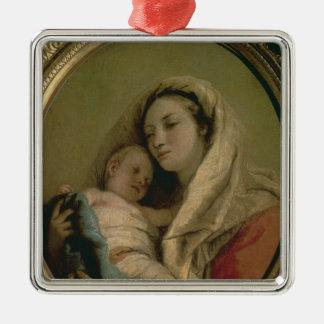 Madonna con el niño durmiente, 1780s adorno navideño cuadrado de metal
