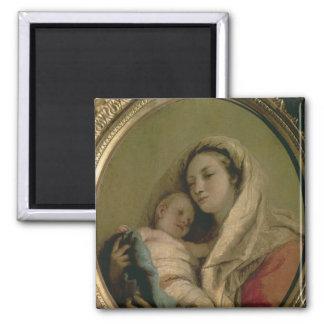Madonna con el niño durmiente, 1780s imán cuadrado