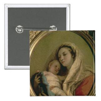 Madonna con el niño durmiente, 1780s pin cuadrada 5 cm