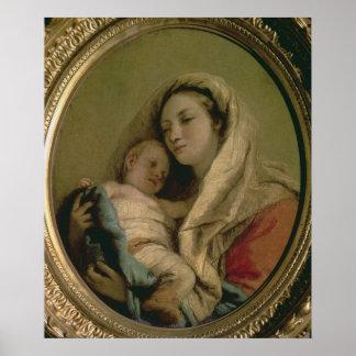 Madonna con el niño durmiente, 1780s póster