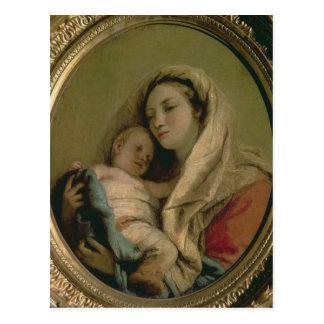 Madonna con el niño durmiente, 1780s tarjetas postales