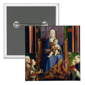 Madonna con el santo Nicholas de Bari Pin Cuadrada 5 Cm