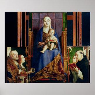 Madonna con el santo Nicholas de Bari Póster