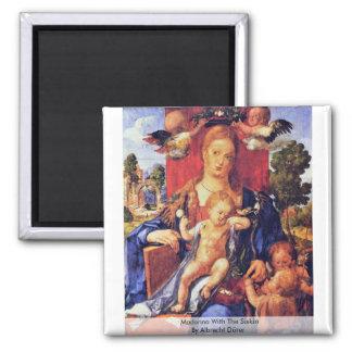 Madonna con el Siskin de Albrecht Dürer Imán Cuadrado