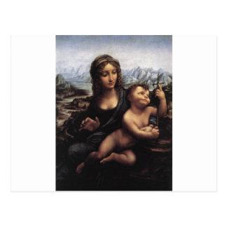 Madonna con el Yarnwinder Postales