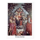 Madonna con los santos de Andrea Mantegna Postal