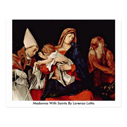 Madonna con los santos de Lorenzo Lotto Tarjetas Postales