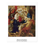 Madonna con los santos de Peter Paul Rubens Tarjeta Postal