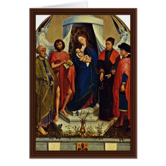 Madonna con los santos Peter, San Juan Bautista, Felicitación