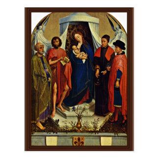Madonna con los santos Peter, San Juan Bautista, Postal