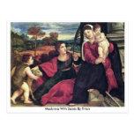 Madonna con los santos por Titian Postal