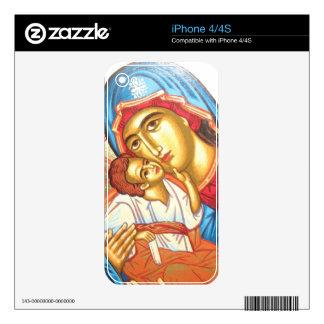 Madonna con oro religioso bizantino del icono de iPhone 4 skin