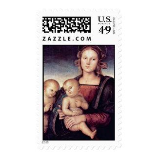 Madonna con St. John el Bautista por Perugino Sello