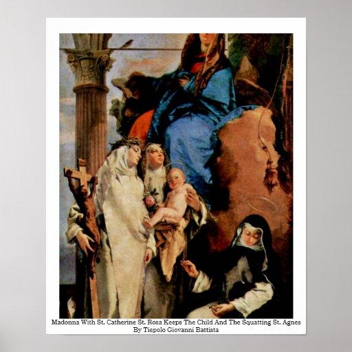 Madonna con St. Rosa del St. Catherine Posters