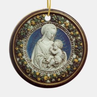 MADONNA CON zafiro azul redondo del NIÑO Ornamento Para Arbol De Navidad