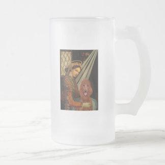 Madonna - Dark Red Standard Poodle #1 Frosted Glass Beer Mug