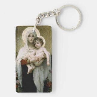 Madonna de Bouguereau de los rosas (1903) Llavero Rectangular Acrílico A Doble Cara