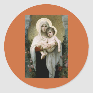 Madonna de Bouguereau de los rosas (1903) Pegatina Redonda