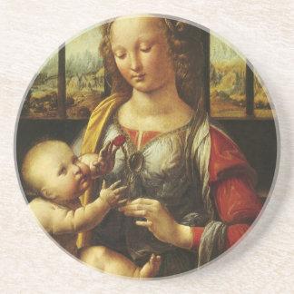 Madonna de da Vinci del clavel Posavasos Personalizados