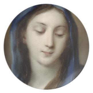 Madonna de la capilla (en colores pastel en el pap plato para fiesta