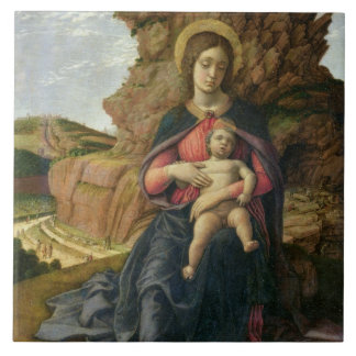 Madonna de la cueva, 1488-90 (tempera en el panel) azulejo cuadrado grande