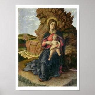 Madonna de la cueva, 1488-90 (tempera en el panel) póster