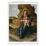 Madonna de la cueva, 1488-90 (tempera en el panel) tarjeta de felicitación