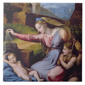 Madonna de la diadema azul o Madonna de t Azulejo Cuadrado Grande